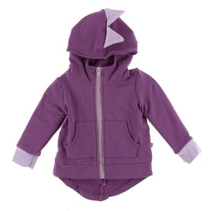 Kickee Pants Solid Fleece Zip-Front Dino Hoodie (Amethyst with Sweet Pea)