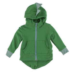 Kickee Pants Solid Fleece Zip-Front Dino Hoodie (Fern with Shore)