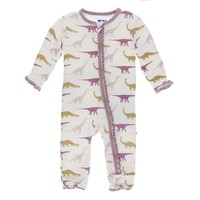 Kickee Pants Print Muffin Ruffle Coverall with Zipper (Natural Sauropods)