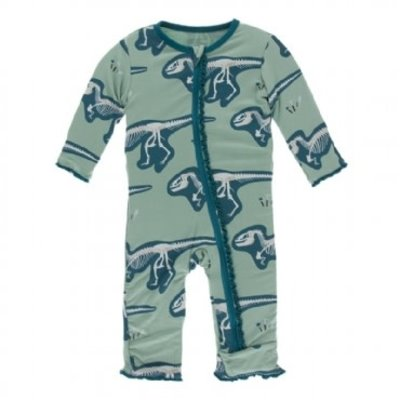 Kickee Pants Print Muffin Ruffle Coverall with Zipper (Shore T-Rex Dig)