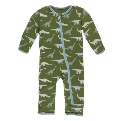Kickee Pants Print Coverall with Zipper (Moss Sauropods)