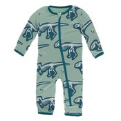 Kickee Pants Print Coverall with Zipper (Shore T-Rex Dig)