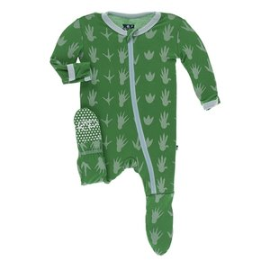 Kickee Pants Print Footie with Zipper (Dino Tracks)