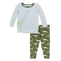 Kickee Pants Print Long Sleeve Pajama Set (Moss Goodnight Dinosaur)