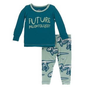 Kickee Pants Print Long Sleeve Pajama Set (Shore Future Paleontologist)