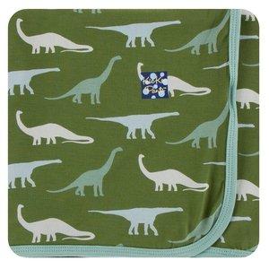 Kickee Pants Print Swaddling Blanket (Moss Sauropods - One Size)