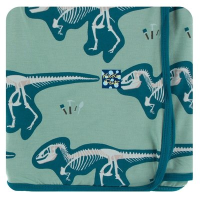 Kickee Pants Print Swaddling Blanket (Shore T-Rex Dig - One Size)