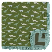 Kickee Pants Print Ruffle Toddler Blanket (Moss Sauropods - One Size)