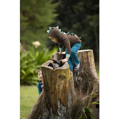 Kickee Pants Solid Fleece Zip-Front Dino Hoodie (Fern with Shore)