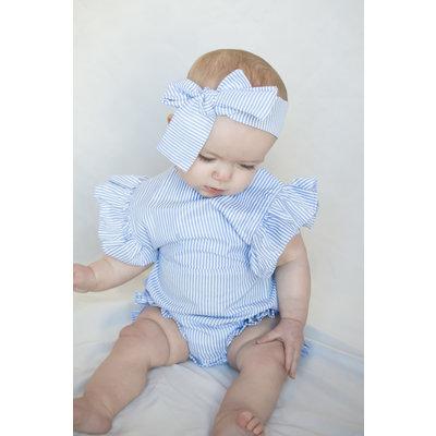 Lincoln&Lexi The Dolly Blue Stripe Romper & Headband Set