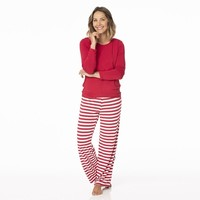 Kickee Pants Women's Long Sleeve Loosey Goosey Tee & Pant Set (Candy Cane Stripe 2019)