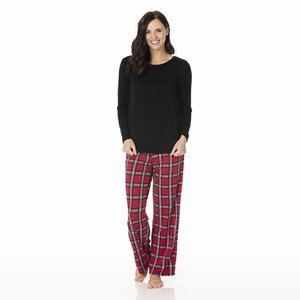 Kickee Pants Women's Long Sleeve Loosey Goosey Tee & Pant Set (Christmas Plaid 2019)