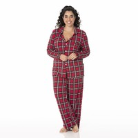 Kickee Pants Women's Print Long Sleeve Collared Pajama Set (Christmas Plaid 2019)