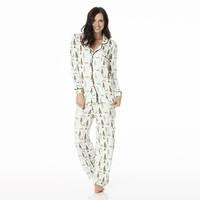 Kickee Pants Women's Print Long Sleeve Collared Pajama Set (Natural Woodland Holiday)