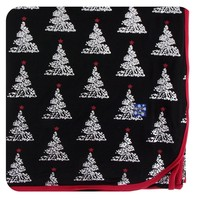 Kickee Pants Print Throw Blanket (Midnight Foil Tree - One Size)