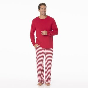 Kickee Pants Men's Print Long Sleeve Pajama Set (Candy Cane Stripe 2019)