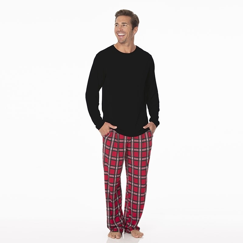 Mens Christmas Pajamas.Kickee Pants Men S Print Long Sleeve Pajama Set Christmas Plaid 2019