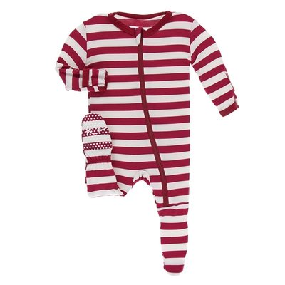 Kickee Pants Print Footie with Zipper (Candy Cane Stripe 2019)