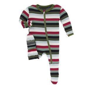 Kickee Pants Print Footie with Zipper (Christmas Multi Stripe)