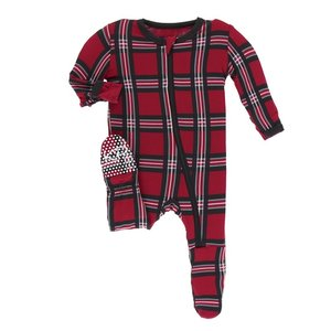 Kickee Pants Print Footie with Zipper (Christmas Plaid 2019)