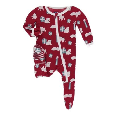 Kickee Pants Print Footie with Zipper (Crimson Puppies and Presents)