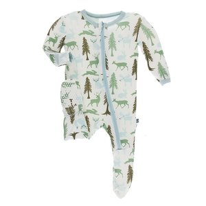 Kickee Pants Print Footie with Zipper (Natural Woodland Holiday)