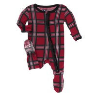 Kickee Pants Print Muffin Ruffle Footie with Zipper (Christmas Plaid 2019)