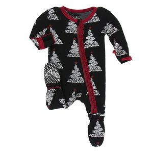 Kickee Pants Print Muffin Ruffle Footie with Zipper (Midnight Foil Tree)