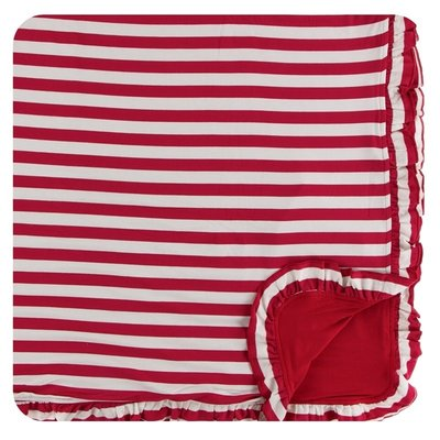 Kickee Pants Print Ruffle Toddler Blanket (Candy Cane Stripe 2019 - One Size)