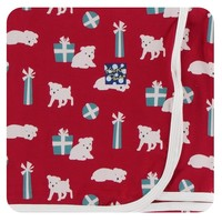 Kickee Pants Print Swaddling Blanket (Crimson Puppies and Presents - One Size)
