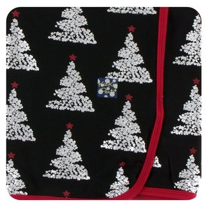 Kickee Pants Print Swaddling Blanket (Midnight Foil Tree - One Size)