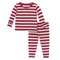 Kickee Pants Print Long Sleeve Pajama Set (Candy Cane Stripe 2019)