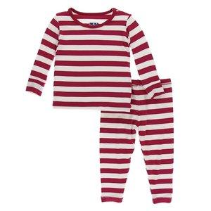 Kickee Pants Print Long Sleeve Pajama Set (Candy Cane Stripe 2019)