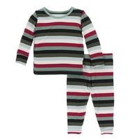 Kickee Pants Print Long Sleeve Pajama Set (Christmas Multi Stripe)