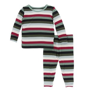 Kickee Pants Print Long Sleeve Pajama Set (Christmas Multi Stripe)