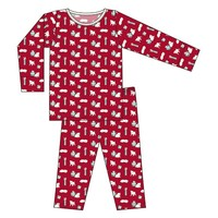 Kickee Pants Print Long Sleeve Pajama Set (Crimson Puppies and Presents)