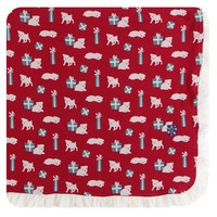 Kickee Pants Print Ruffle Toddler Blanket (Crimson Puppies and Presents - One Size)