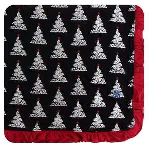 Kickee Pants Print Ruffle Toddler Blanket (Midnight Foil Tree - One Size)