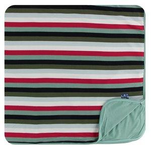 Kickee Pants Print Toddler Blanket (Christmas Multi Stripe - One Size)