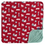 Kickee Pants Print Toddler Blanket (Crimson Puppies and Presents - One Size)