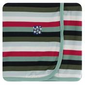 Kickee Pants Print Swaddling Blanket (Christmas Multi Stripe - One Size)