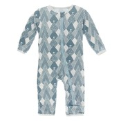 Kickee Pants Print Coverall with Zipper (Dusty Sky Mountains)
