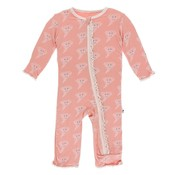 Kickee Pants Print Muffin Ruffle Coverall with Zipper (Blush Happy Tornado)