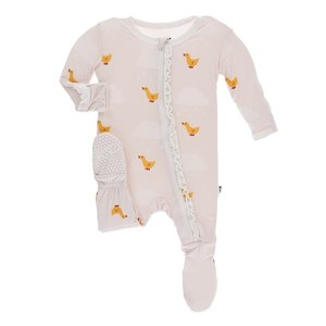 Kickee Pants Print Muffin Ruffle Footie with Zipper (Macaroon Puddle Duck)