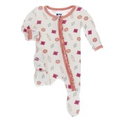 Kickee Pants Print Muffin Ruffle Footie with Zipper (Natural Gems)