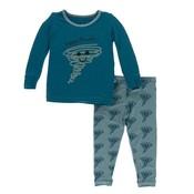 Kickee Pants Print Long Sleeve Pajama Set (Heritage Blue Happy Tornado)