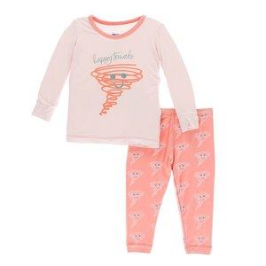 Kickee Pants Print Long Sleeve Pajama Set (Macaroon Happy Tornado)