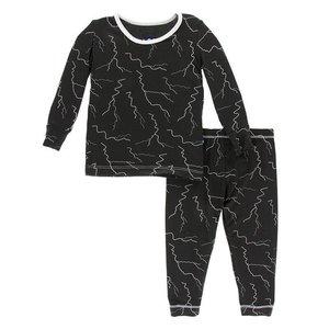 Kickee Pants Print Long Sleeve Pajama Set (Zebra Lightning)
