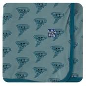 Kickee Pants Print Swaddling Blanket (Dusty Sky Happy Tornado - One Size)