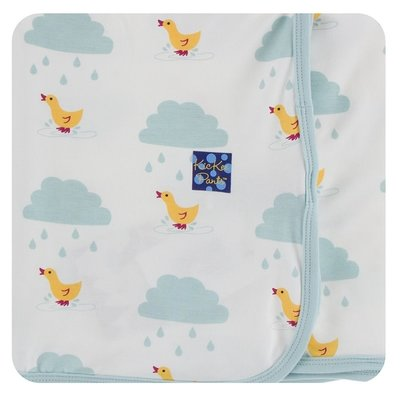 Kickee Pants Print Swaddling Blanket (Natural Puddle Duck - One Size)